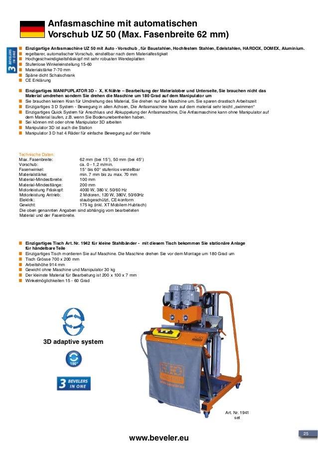 25 www.beveler.eu Anfasmaschine mit automatischen Vorschub UZ 50 (Max. Fasenbreite 62 mm) Technische Daten: Max. Fasenbrei...