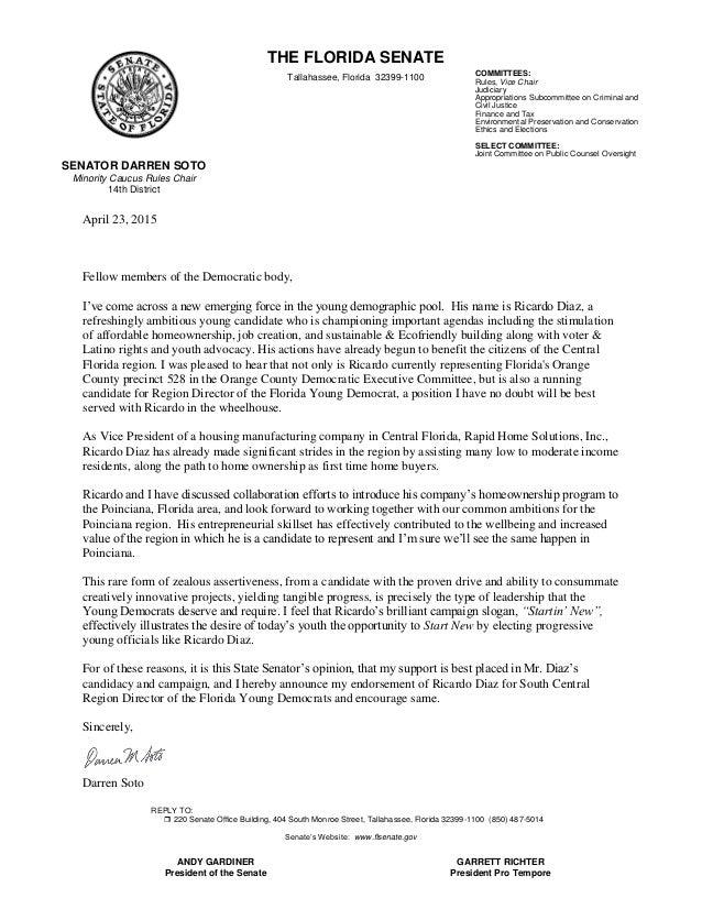 Letter Of Political Endorsement Sample