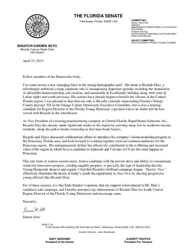 SENATOR DARREN SOTO Minority Caucus Rules Chair 14th District THE FLORIDA  SENATE Tallahassee, Florida 32399