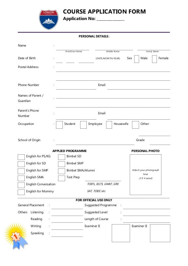 London College Application Form
