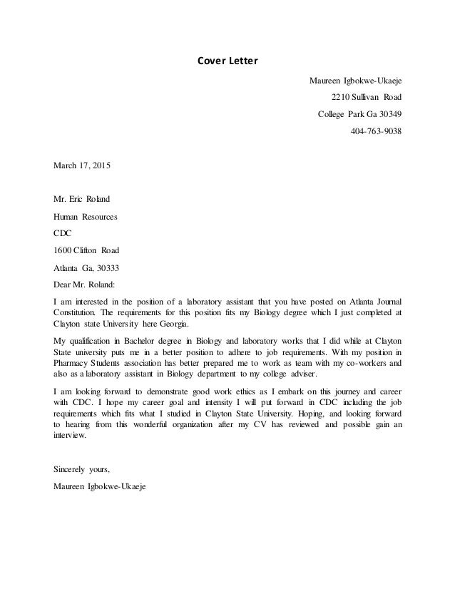 Cover Letter For Class