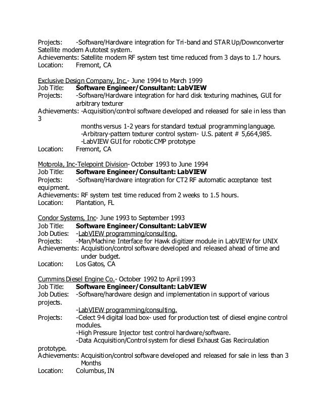 engineerconsultant labview 10 - Modem System Test Engineer Sample Resume