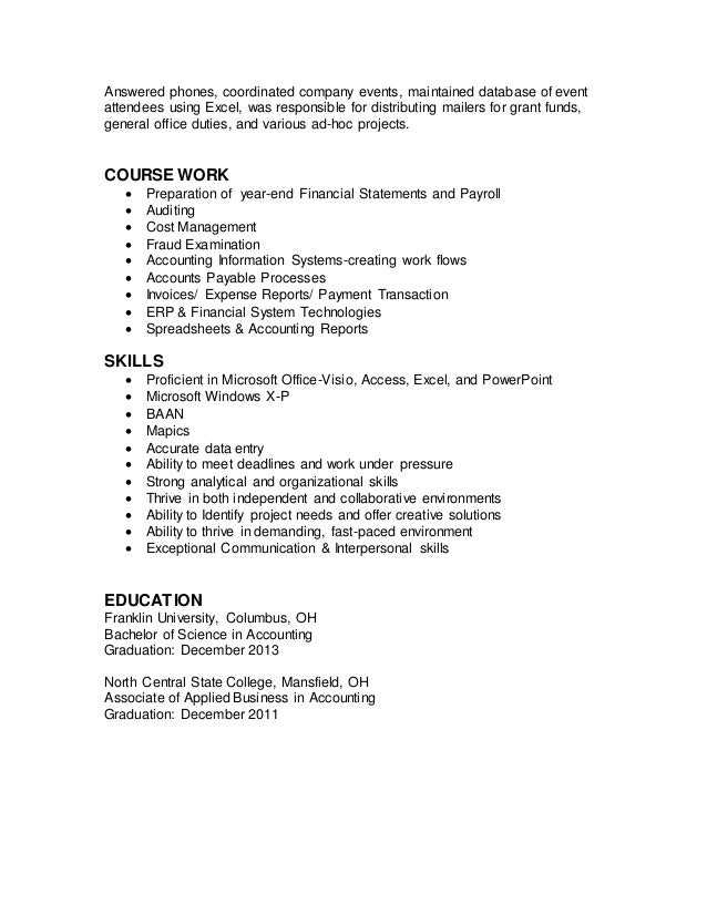 Modern Columbus Ohio Accounting Resume Gallery - Administrative ...