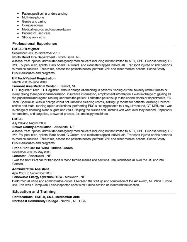 emt b resume - thelongwayup.info