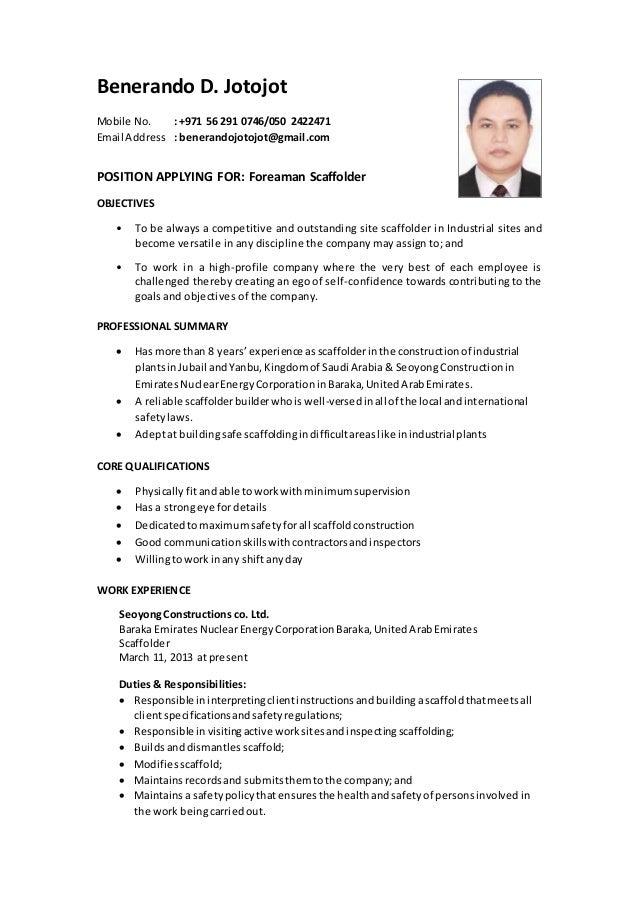 scaffolding foreman resume
