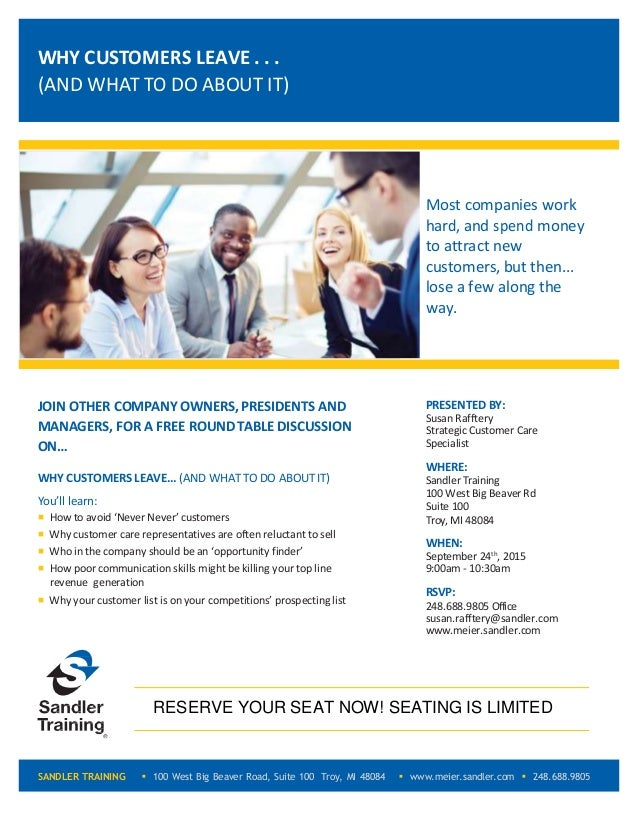 JOIN OTHER COMPANY OWNERS,PRESIDENTS AND MANAGERS, FOR A FREE ROUNDTABLE DISCUSSION ON… WHY CUSTOMERS LEAVE... (AND WHAT T...