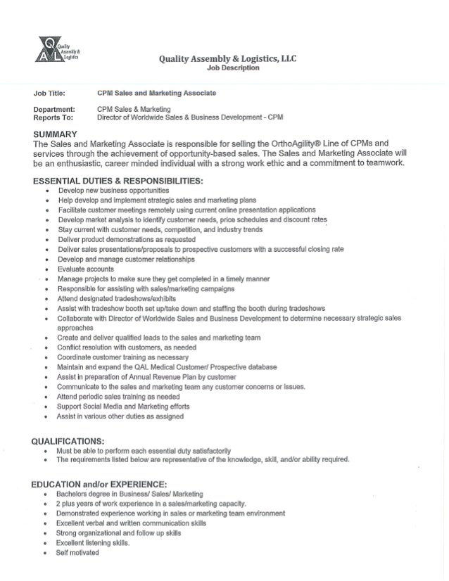 Sales And Marketing Associate - Job Description