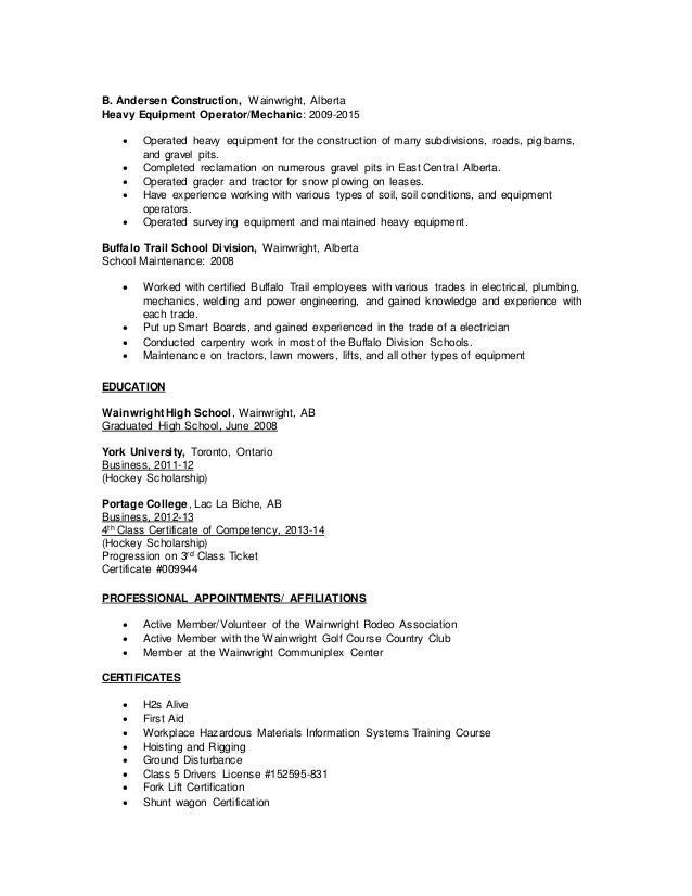 resume for heavy equipment operator