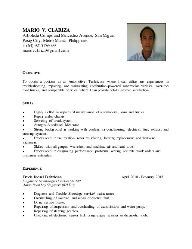resume automotive technician mario v clariza arboleda compound mercedez avenue san miguel pasig city metro manila - Automotive Technician Resume