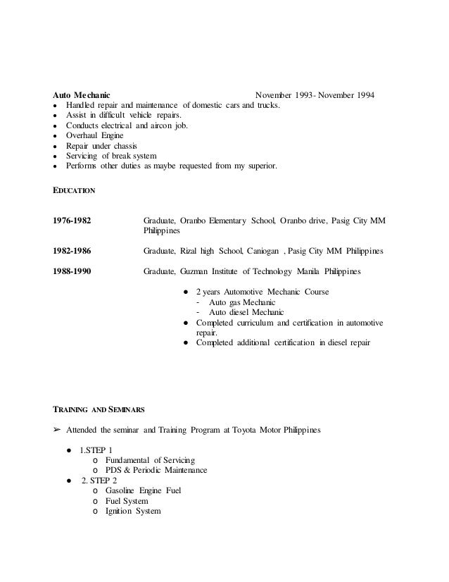 auto mechanic - Auto Mechanic Resume Sample Philippines