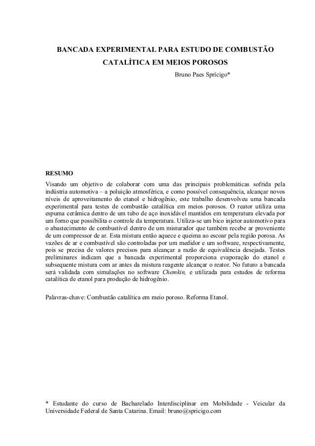 BANCADA EXPERIMENTAL PARA ESTUDO DE COMBUSTÃO CATALÍTICA EM MEIOS POROSOS Bruno Paes Sprícigo* RESUMO Visando um objetivo ...