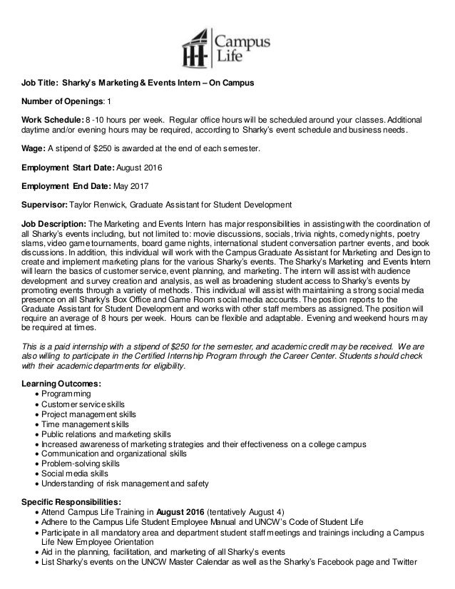 Sharky27s Marketing and Events Intern Job Description Spring 2016 – Business Intern Job Description