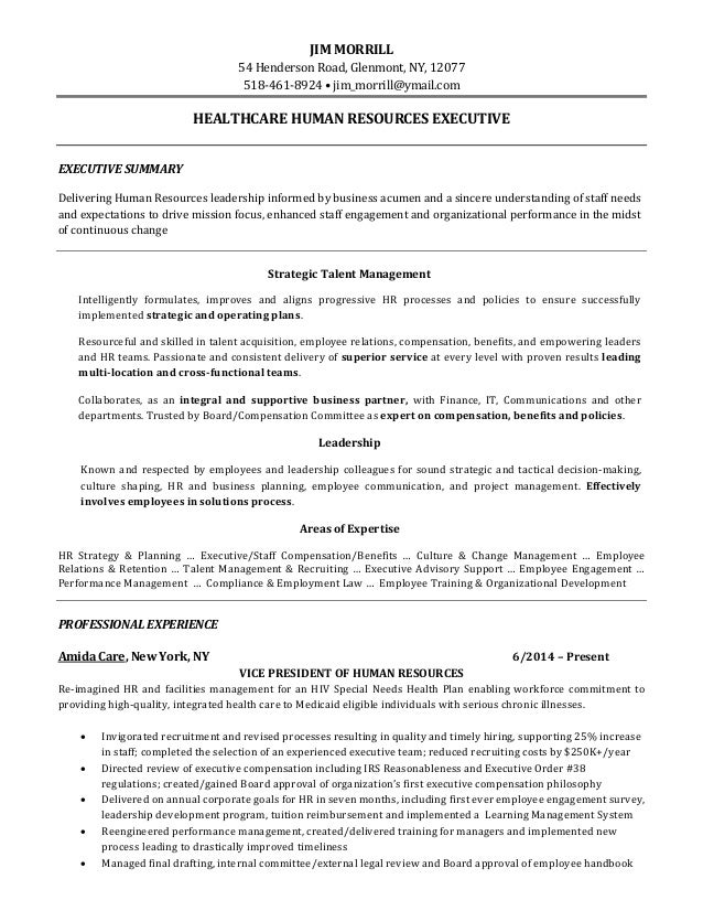 vice president of human resources resume