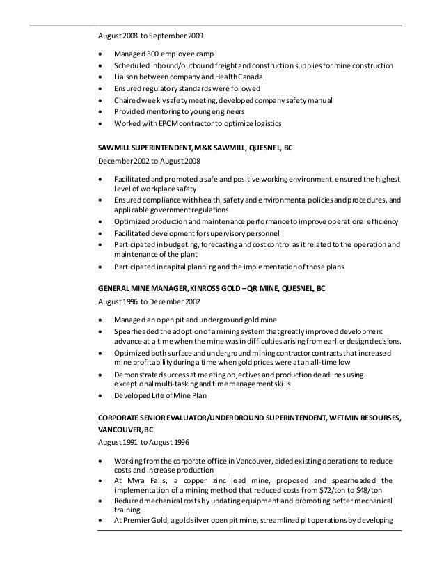 Brian Miller - Resume (Mining)