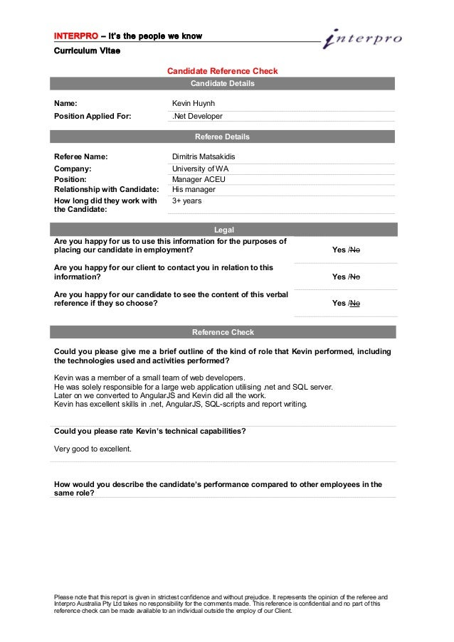 Kevin Huynh - Reference Check form