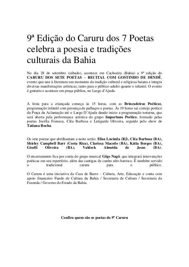 9ª Edição do Caruru dos 7 Poetas celebra a poesia e tradições culturais da Bahia No dia 28 de setembro (sábado), acontece ...