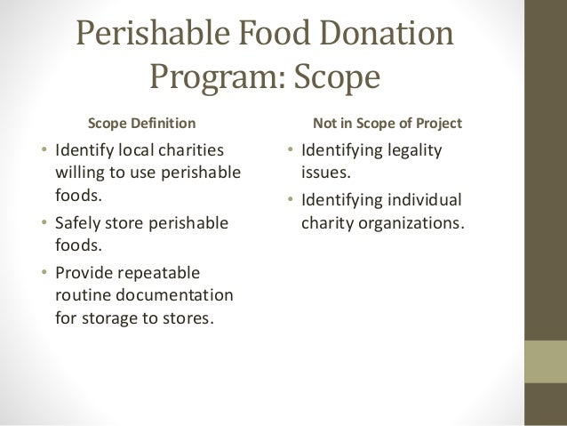 Superb 7. Perishable Food Donation Program: Scope Scope Definition ...
