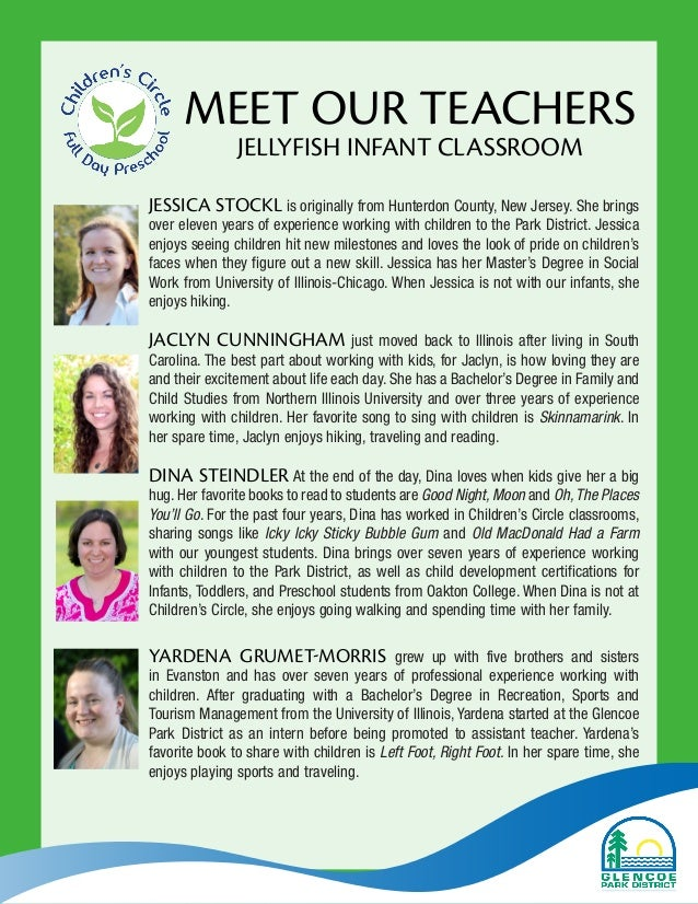 MEET OUR TEACHERS JELLYFISH INFANT CLASSROOM JESSICA STOCKL is originally from Hunterdon County, New Jersey. She brings ov...
