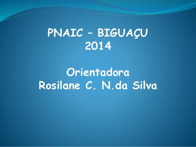 PNAIC – BIGUAÇU 2014 Orientadora Rosilane C. N.da Silva