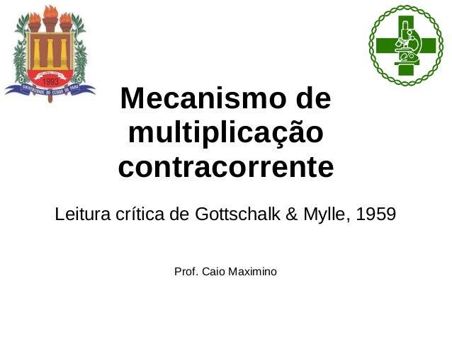 Mecanismo de  multiplicação  contracorrente  Leitura crítica de Gottschalk & Mylle, 1959  Prof. Caio Maximino