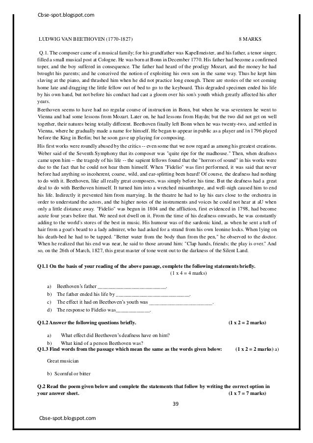 9th Sa2 Cbse English Sample Paper