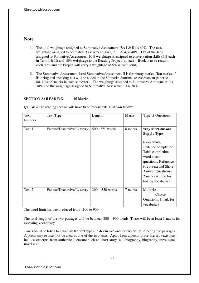 Th Sa Cbse English Sample Paper