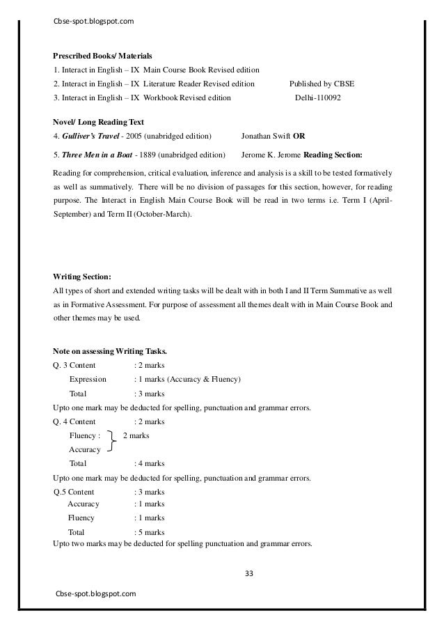 Passage writing in english for class 9 - CBSE Syllabus for Class 9