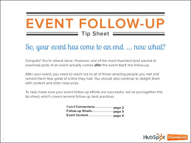 EVENT FOLLOW UP So Your Event Has Come To An End Now What