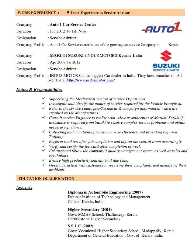 automobile service engineer resume