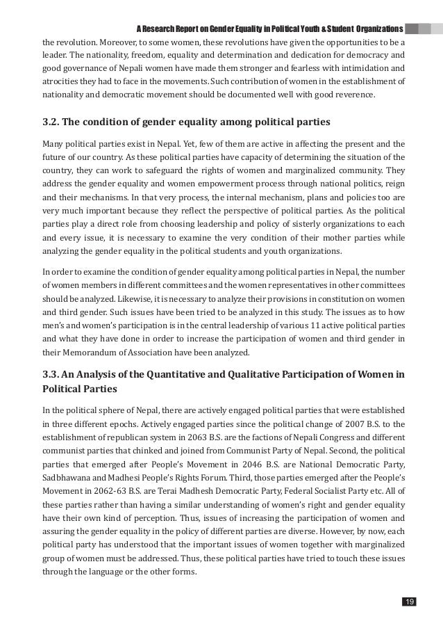 Gender Equality In Political Youth Student Organizations Research Gender  Equality In Political Youth Student Organizations 1818