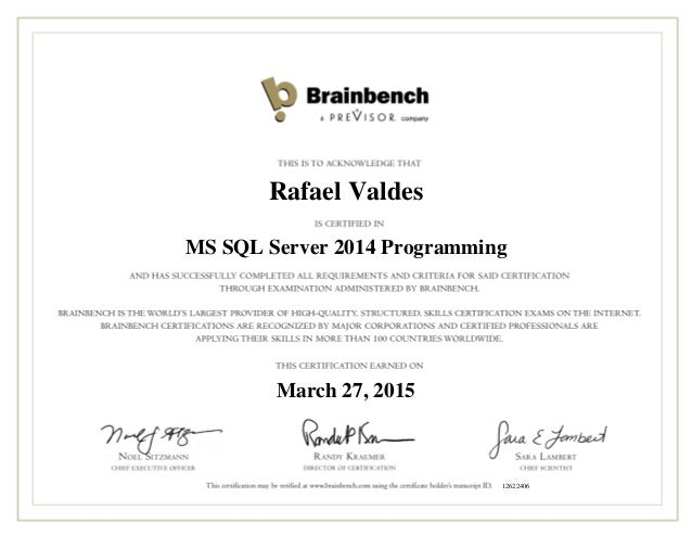 Ms Sql Server 2014 Programming Certification