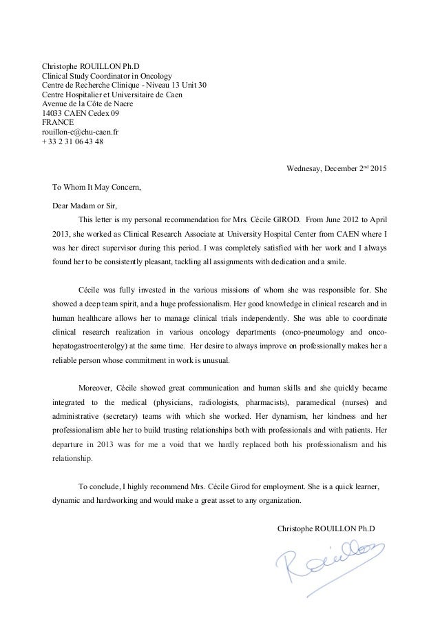 Example Letter Of Recommendation From Doctor