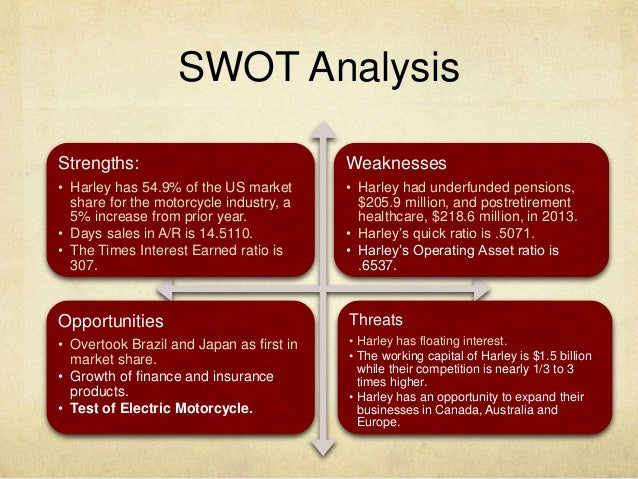 harley swot analysis A public limited company, harley davidson was originally founded in 1903 it is an american company that manufactures motor cycles it is commonly known as hd.