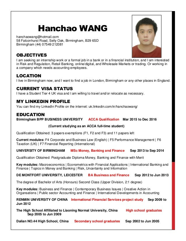 Hanchao WANG hanchaowang@hotmail.com 58 Falconhurst Road, Selly Oak, Birmingham, B29 6SD Birmingham (44) 07549 212081 OBJE...