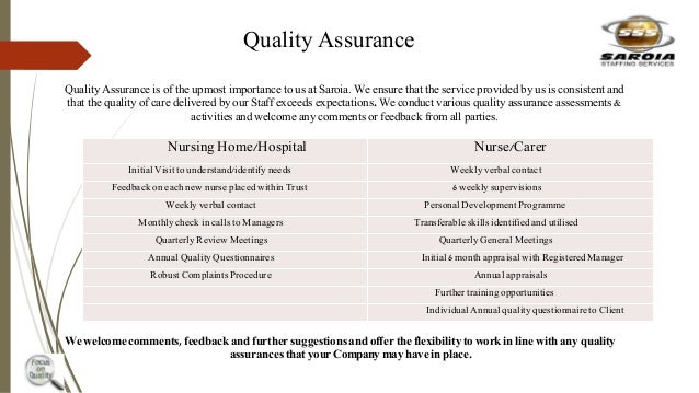 Quality Assurance Quality Assurance is of the upmost importance to us at Saroia. We ensure that the service provided by us...