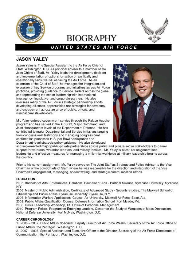 Jason yaley biography for Military biography template