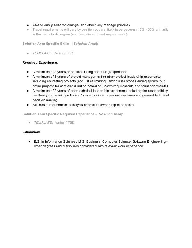 Job Description Template - Solution Architect