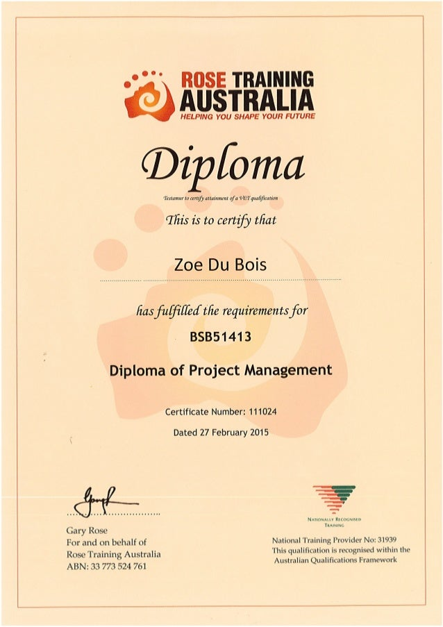 Diploma of Project Management Certificate - Zoe Du Bois