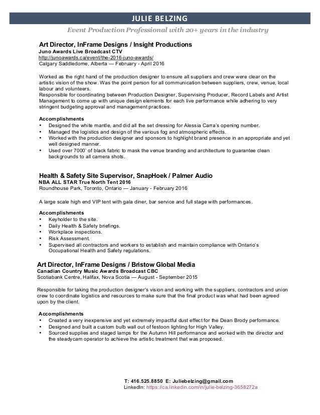 julie belzing resume june 2016