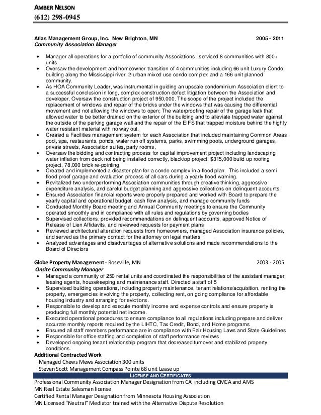 amber nelson community manager resume