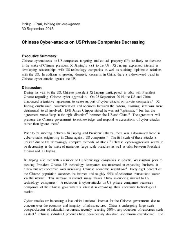 Phillip LiPari, Writing for Intelligence 30 September 2015 Chinese Cyber-attacks on US Private Companies Decreasing Execut...