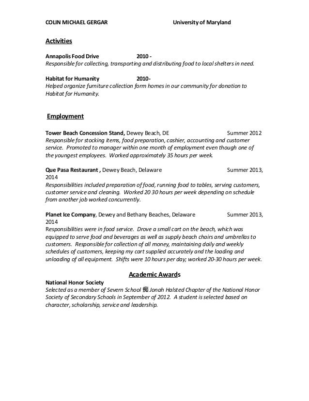 Maryland resume