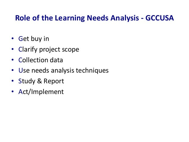 undertaking a learning needs analysis With an understanding of community needs and assets, you are ready to begin your community assessment  conducting a community assessment  learning points.