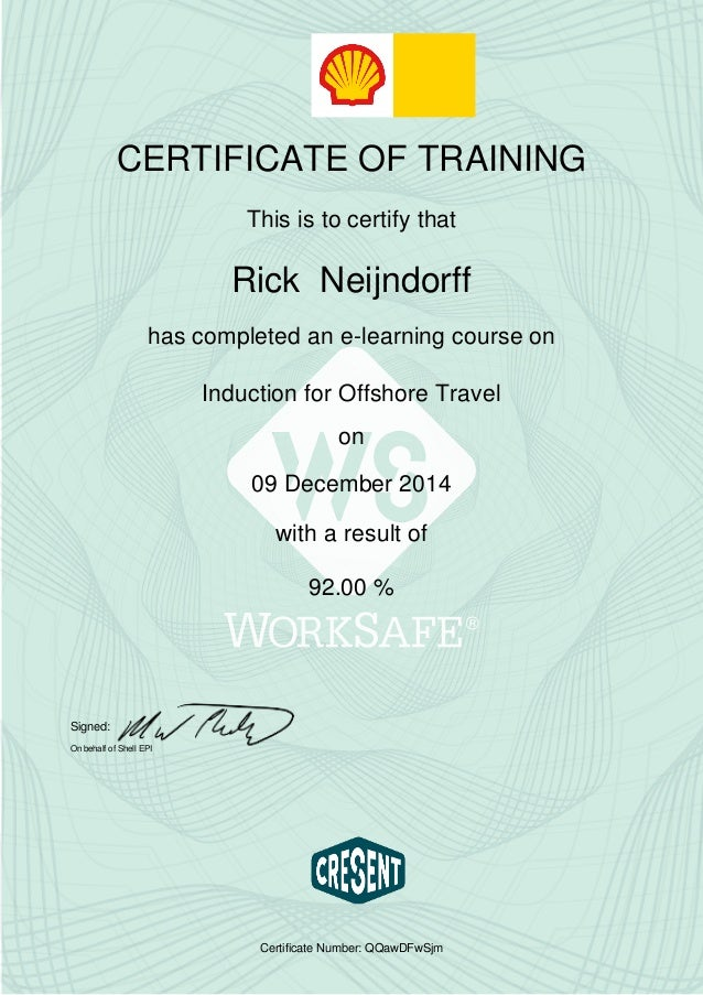 Shell Induction For Offshore Travel Certificate