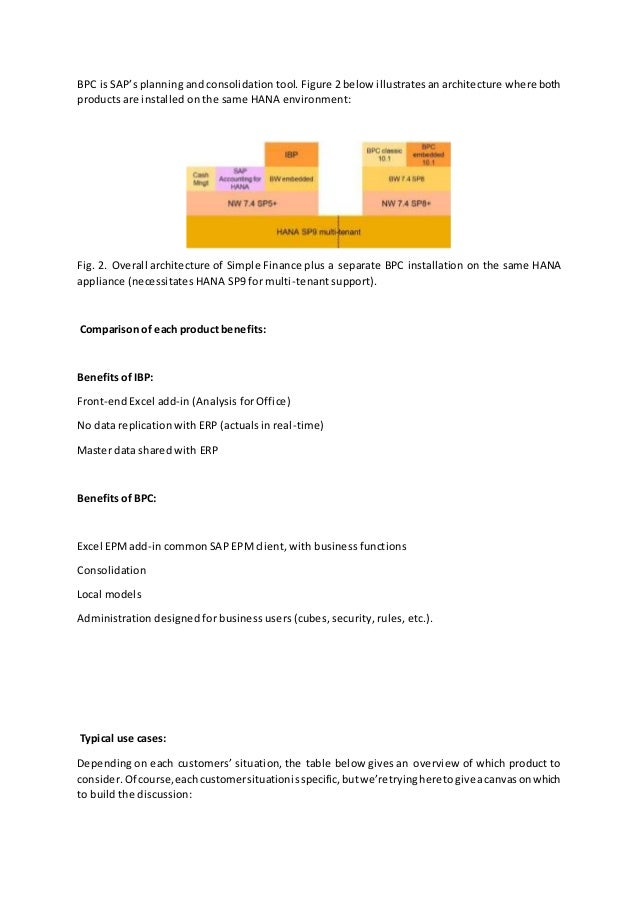 business planning and consolidation architecture design