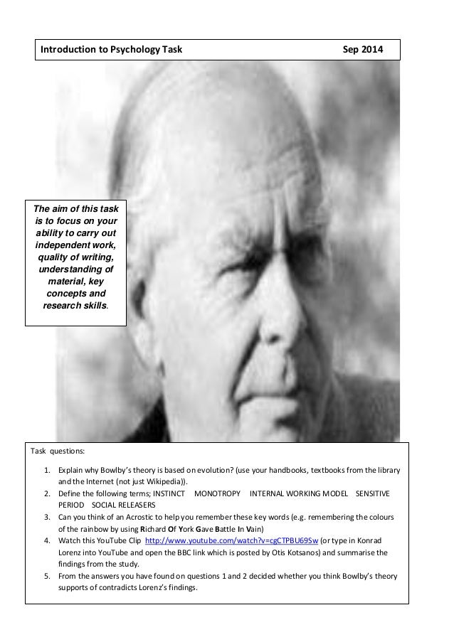 Introduction to Psychology Task Sep 2014  The aim of this task  is to focus on your  ability to carry out  independent wor...