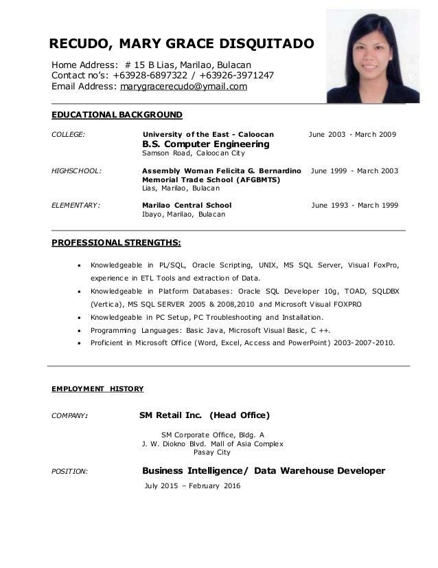 RECUDO, MARY GRACE DISQUITADO Home Address: # 15 B Lias, Marilao, Bulacan Contact no's: +63928-6897322 / +63926-3971247 Em...