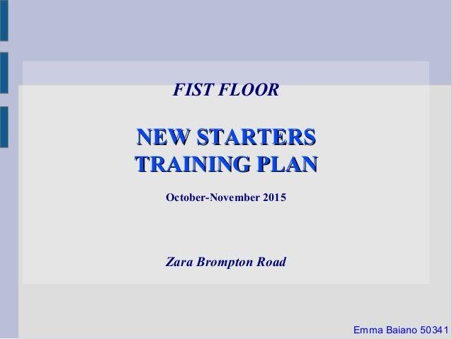 FIST FLOOR NEW STARTERSNEW STARTERS TRAINING PLANTRAINING PLAN October-November 2015 Zara Brompton Road Emma Baiano 50341
