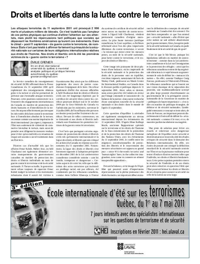 Le Service canadien du renseignement de sécurité (SCRS) affirmait dans la Presse Canadienne du 13 septembre 2010 qu'il exp...