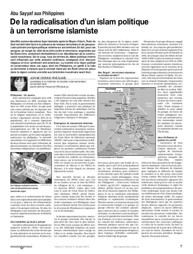 7Volume 5 - Numéro 3 - Octobre 2010 www.regardcritique.ulaval.ca Abu Sayyaf aux Philippines De la radicalisation d'un isla...
